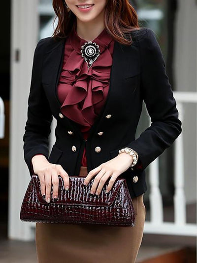 Elegant Pure Color Double-Breasted Long-Sleeved Blazer