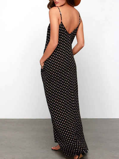 Fashion Spaghetti Strap  Printed Maxi Dress