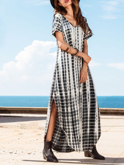 Fashion Loose V Neck Irregular Floral Printed Maxi Dress