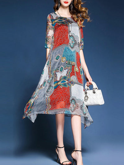 Asymmetric Neck  Printed Maxi Polyester Dress