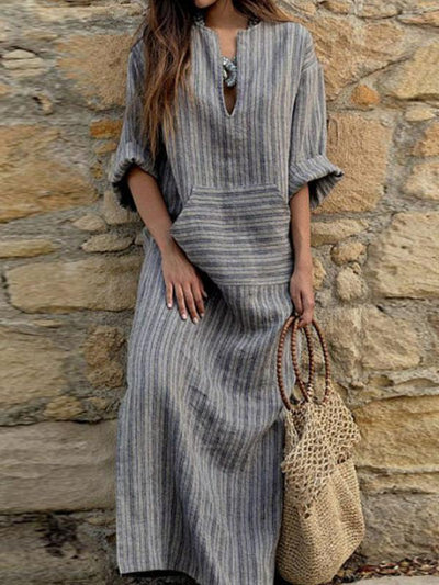 New V Neck  Kangaroo Pocket  Striped  Three Quarter Sleeve Maxi Dresses