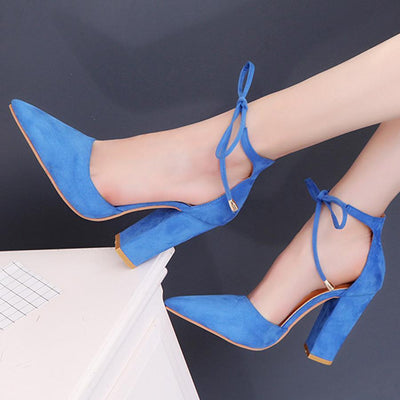 Plain  Chunky  High Heeled  Velvet  Ankle Strap  Point Toe  Shoes