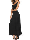 Round Neck  Plain Women Maxi Dress