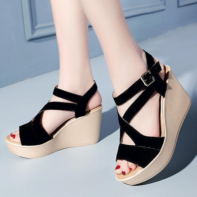 Plain  High Heeled  Velvet  Ankle Strap  Peep Toe  Casual