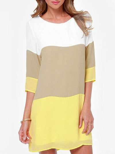 New Round Neck  Color Block Shift Dress