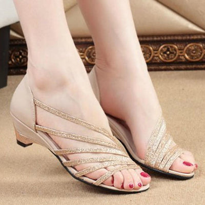 Plain  Chunky  Low Heeled  Peep Toe  Casual Sandals