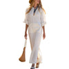 New Oversized Women Long Sleeve Solid Cotton Maxi Dress