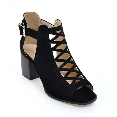Platform Open Toe Ankle Strap Zipper Back High Heel Woman Sandals