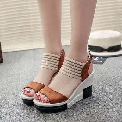 Casual Summer Suede Buckle Wedge Woman Heel Sandals
