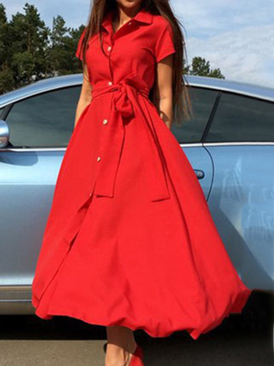 Woman Turn Down Collar  Belt  Plain Maxi Dress