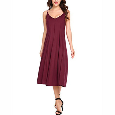 New Summer Women Pure Color Large Size Loose Maxi Dress