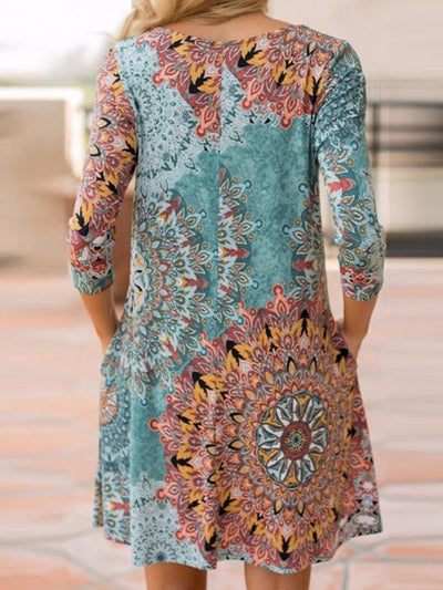 Woman Round Neck  Printed Shift Dress