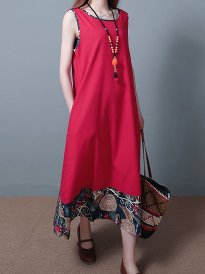 Round Neck  Patchwork  Printed Woman Maxi Dress
