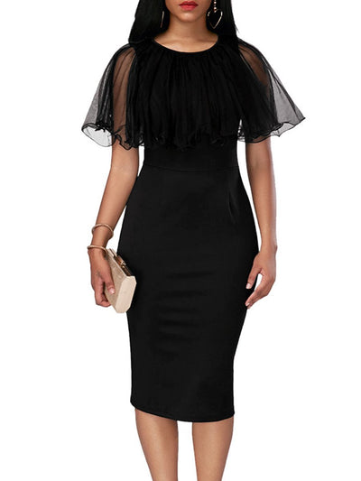 Woman Round Neck  Flounce  Plain  Raglan Sleeve Bodycon Dress