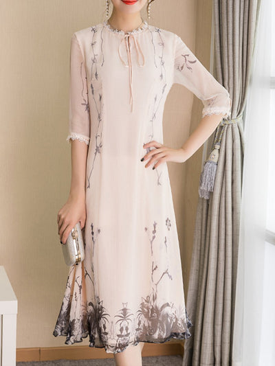 Woman Round Neck  Patchwork  Floral Printed Maxi Dress