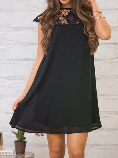 Round Neck  Decorative Lace  Plain  Dress