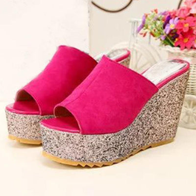 Woman Plain  High Heeled  Velvet  Peep Toe  Casual Date Peep-Toe Wedges