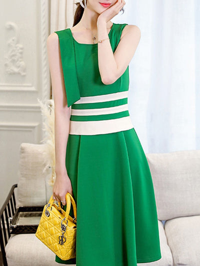 Woman Round Neck  Patchwork Skater Dress