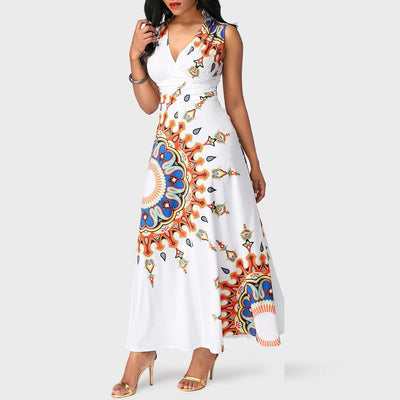 V Neck Printed Orange Flower Woman Maxi Dress