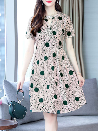 Round Neck  Zipper  Print Skater Dress