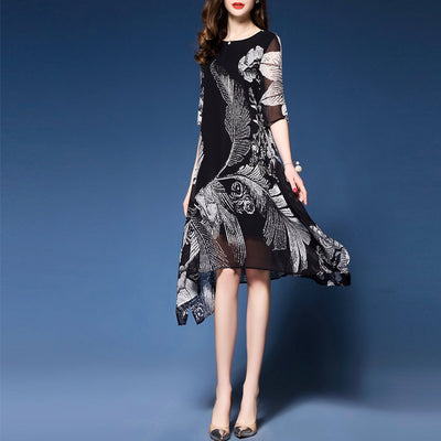 Silk Printed  Fashion Black Shit Dress