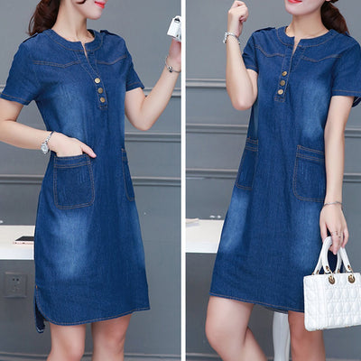 Denim Round Neck Simple Shift Dress