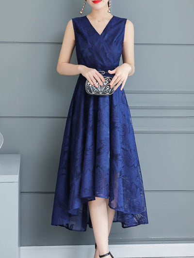 Woman V Neck  Asymmetric Hem Maxi Dress