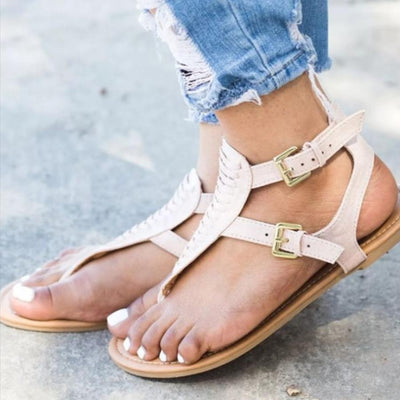 Plain  Flat  Faux Leather  T Strap   Casual Gladiator Sandals