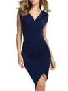 Woman Surplice  Plain Bodycon Dress