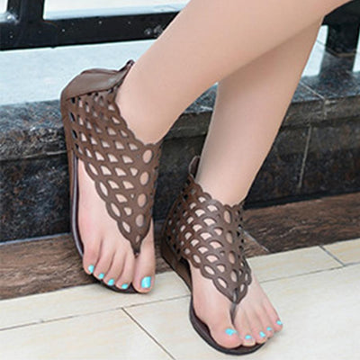 SOCOFY Hollow Out  Flat  Peep Toe  Casual Date Gladiator Sandals