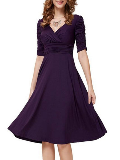 Woman V Neck  Plain Skater Dress