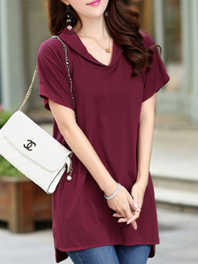 Summer  Cotton  Women  V-Neck  Asymmetric Hem  Plain Short Sleeve T-Shirts