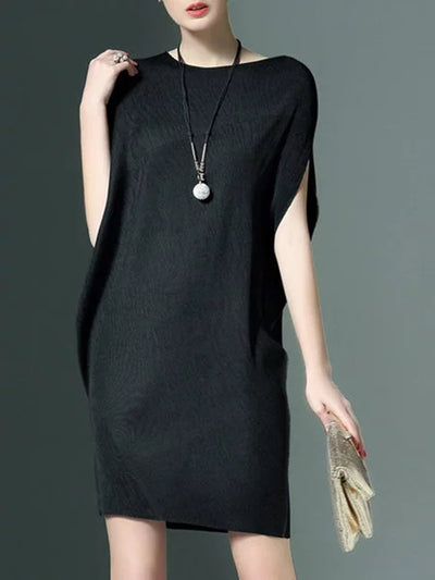 Round Neck  Plain Women Shift Dress