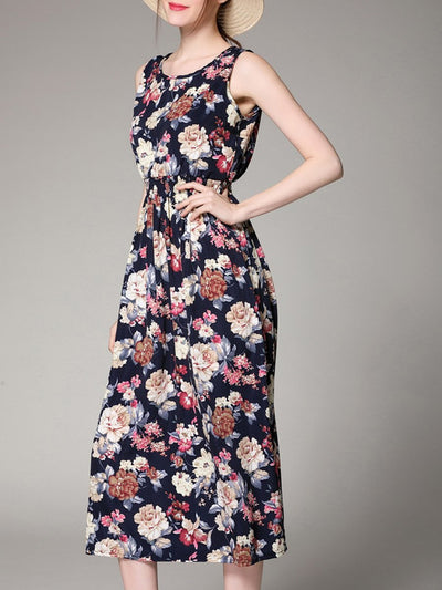 Round Neck  Elastic Waist  Floral Printed Maxi Dress