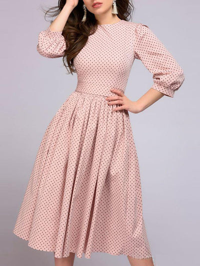 Round Neck  Ruffled Hem  Polka Dot  Lantern Sleeve Skater Dress