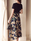 Round Neck  Patchwork  Belt  Printed Maxi Dress yellow m