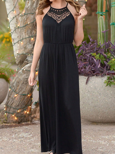 Spaghetti Strap  Elastic Waist  Hollow Out Maxi Dress prunosus m
