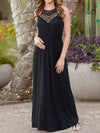 Spaghetti Strap  Elastic Waist  Hollow Out Maxi Dress prunosus s