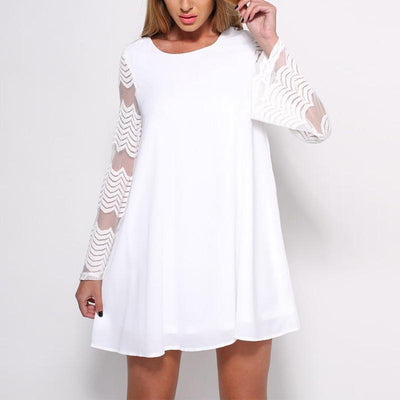 Round Neck Lace Patchwork Flare Sleeve Mini Dress