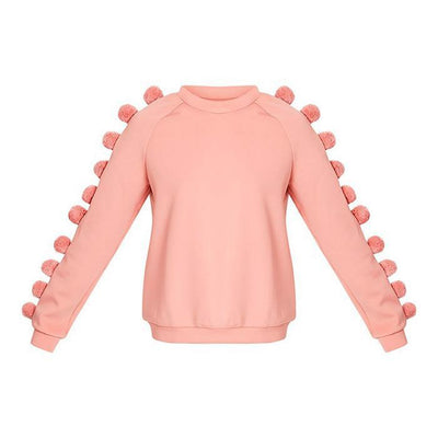 Early Autumn Fashion Hairball Pure Color Sweater