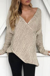Deep V Neck  Asymmetric Hem  Plain Sweaters