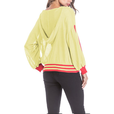 Colorful Woman Long Sleeve With Hoody Sweaters
