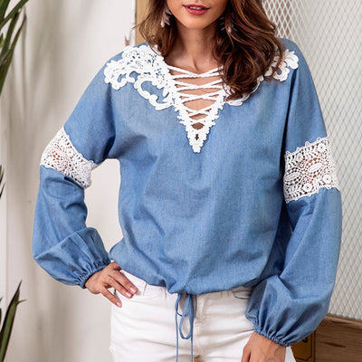 Lace Up Stylish Long Sleeve Plain T-Shirt Blouse