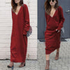 Women Sexy Autumn Basic Long Sleeve Knitted Bodycon Sweater Maxi Dress