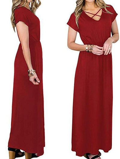 Women Casual Solid Cross Strap V Neck Sexy Maxi Dress