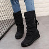 Plain  Invisible  High Heeled  Velvet  Round Toe  Casual  Mid Calf Flat Boots