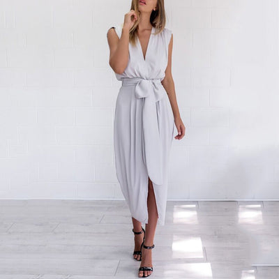 Deep V Collar Sexy Lace Up Sleeveless Maxi Dresses