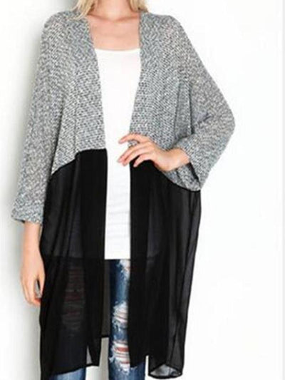 Midi  Casual  Autumn Patchwork Cardigans