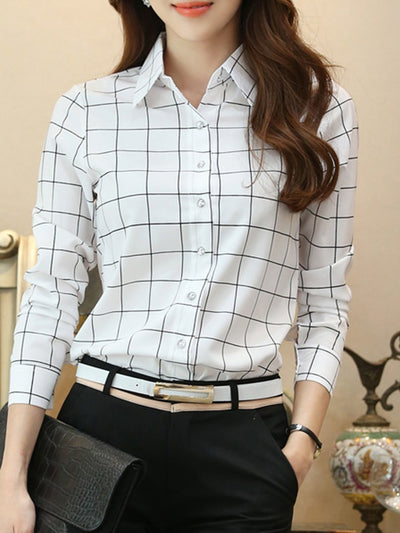 Autumn Spring  Polyester  Women  Single Breasted  Plaid  Long Sleeve Blouses