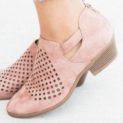 Hollow Out  Chunky  Low Heeled  Velvet  Round Toe  Outdoor Ankle Boots